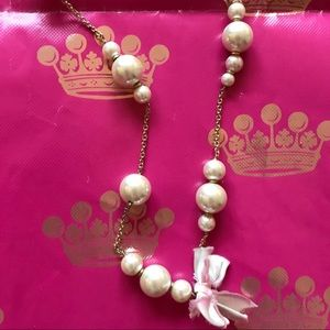 J.Crew Long Pearl Scatter Necklace with Pink Bows